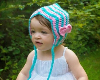Chevron Bonnet, Turquoise and Pink, Chevron Hat, Baby Hat, Crochet Hat, Crochet Bonnet, Baby Shower Gift, Photo Prop with Turquoise and Pink