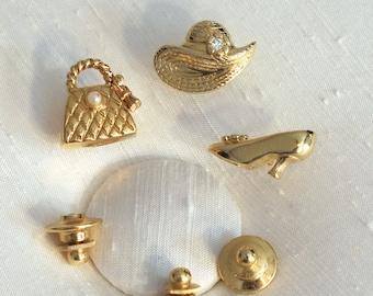 Set of 3 Precious Dress Up Pins ~ Vintage Avon Scatter Pins ~ Tac Pin ~ Tie Tack