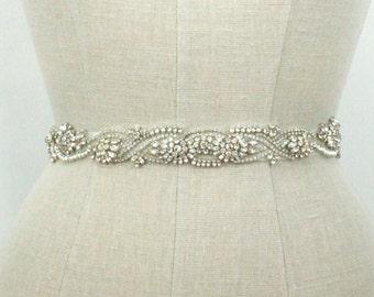 Beaded Wedding Belt Bridal Sash, Art Deco Dainty Rhinestone Crystal Silver Ornate Embroidered Beaded Accessories, Camilla Christine MARTHA