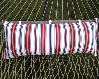 Outdoor Hammock Pillow Cover- 14x36 Lumbar Outdoor Red White and Blue Stripes, Gift Ideas