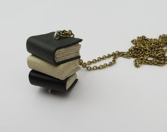Book Necklace Handmade Mini Black, Cream and Grey Leather Book Stack