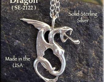 Sterling Silver Dragon Pendant, Wyvern Dragon Necklace, Fantasy Jewelry, 925 Silver Dragon Jewelry SE-2122