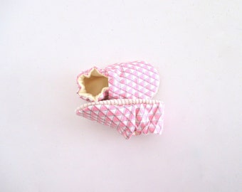 Organic Baby Shoes PInk Geometric Triangle Soft Sole Baby Shoes Baby Boy
