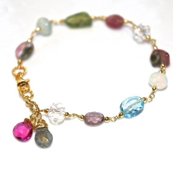 Gemstone Bracelet Rainbow Bracelet Watermelon Tourmaline Slice Gemstone Jewelry Topaz Bracelet Spring Jewelry Womans Gift Handmade Jewelry