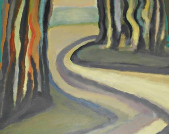 Fine Art Giclee Print, Wooded Path, Trees, Curved Road, Original Acrylic Painting by Robert Maitland, Landscape, Archival Print, 8 X 10