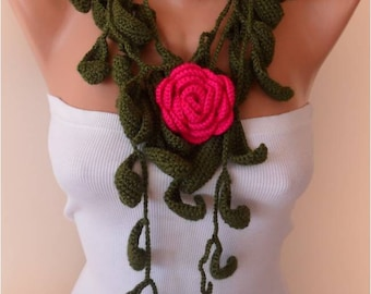Christmas Gift Gift For Her Winter Scarf Green Leaves and Pink Rose Crochet Jewelry Scarf with Flower Brooch women fashion Black Friday