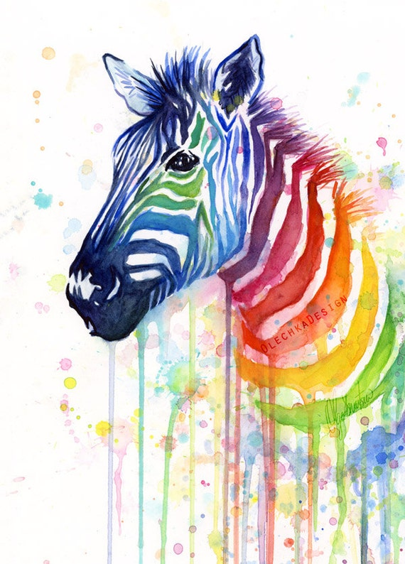 Watercolor Painting Rainbow Zebra Colorful Animal by ...