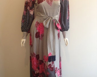 Berkertex of Mayfair Floral Maxi Dress 60s/70s Size 10-12