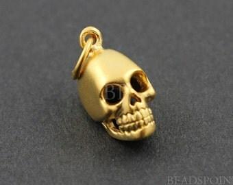 24K Gold Vermeil Over Sterling Silver Skull Charm / Pendant 3 Dimensional Detail, Soldered Ring, 1Piece (VM/CH10/CR13)