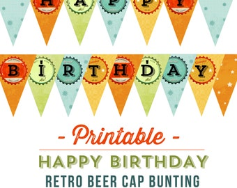 Printable Retro Beer Happy Birthday Bunting INSTANT DOWNLOAD