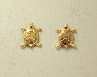 14 Karat Gold Plated Turtle Magnetic Clip Non Pierced Earrings