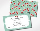 PRINTED -- BLUE CHERRIES -  Business Cards - personal card - bride - colleg student