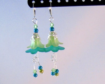 "Lime Green, Aqua Blue & Silver Dangle ""Fairy"" Flower Earrings, Lime Green Jewelry, Aqua Blue Jewelry, Flower Jewelry, Fairy Jewelry,"