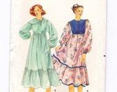 Dress and Scarf Pattern, Ruffled Dress, Bust 31 1/2, Boho Dress Sewing Pattern