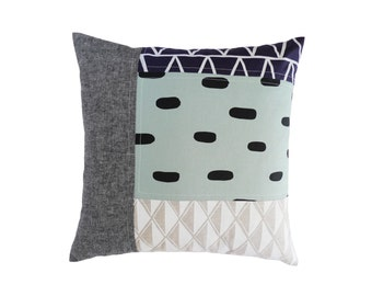 Patterned Patchwork Pillow #8 - 18.5 x 18.5 in. - One of a kind