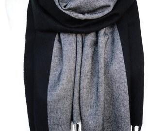 Black Grey Scarf. Striped Scarf. Man Birthday Gift. Luxury Scarf. Extremely Soft Scarf. Velvet Touch. 12x67in (30x170cm) Ready2Ship