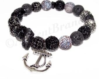 Punaluu Men's Lava Spider Beaded Bracelet