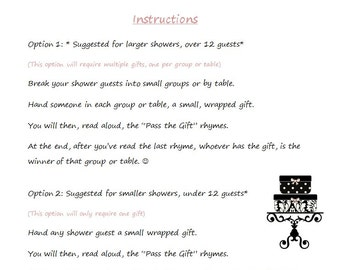 instant download baby shower game pass the gift