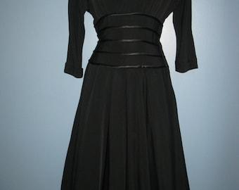 Fabulous 1940's Little Black Sateen Dress Retro Little Black Dress