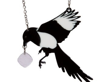 Magpie necklace - laser cut acrylic