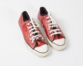Vintage Pvc Red Converse All Stars / Retro Shiny Plastic Rare Converse Low All Starts Trainer / 1980s 90s / Women's Size EU 39 US 8.5 UK 6