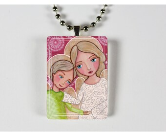 Mothers are Angels - wearable art necklace featuring print of painting by EvonaGallery