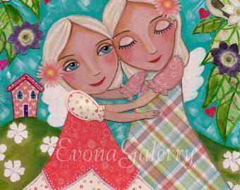 Soul Sisters ,Mix Media, Folk Art, Wall Decore by Evona