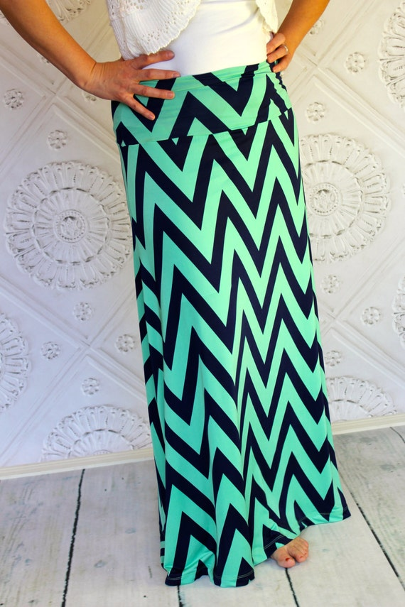 chevron maxi skirt a line style in mint green and by