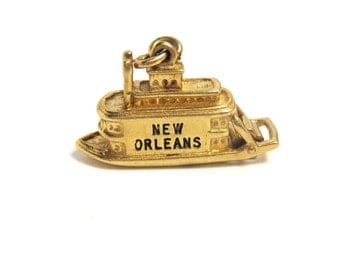 14k New Orleans Boat Pendant Yellow Gold and Enamel Charm 3D - Weight 10.2 Grams - Keepsake - Memories - VJSE