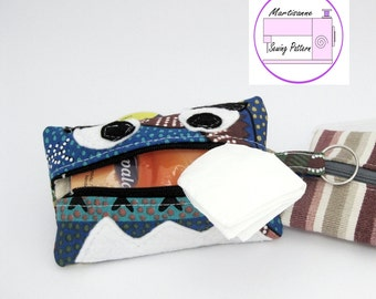 kleenex pouch pattern, tissue cover pdf, pouch sewing pattern, zipper pouch pattern, zipper bag pattern, cosmetic pouch sewing pattern