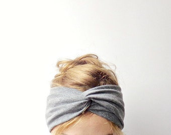 Charcoal gray twist headband Jersey turban turband stretch head wrap casual everyday winter head warmer ear warmer mothers day stirnband