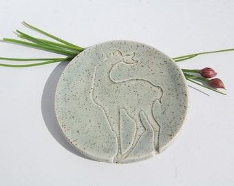 Ring Dish Dish Deer Pottery Ceramic Pale Blue Speckle made in UK