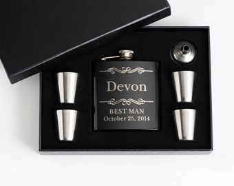 2, Personalized Groomsmen Gift, Engraved Flask Set, Stainless Steel Flask, Personalized Best Man Gift, 2 Flask Sets