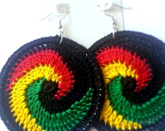 Afro- Centric Swirl Crochet Hoop Earrings
