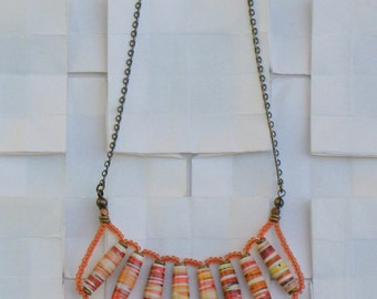 One of a Kind Orange Paper Bead Necklace- OOAK Daydream Necklace - Orange Handmade Paper Beads and Brass Chain Necklace -GIFTS UNDER 60-