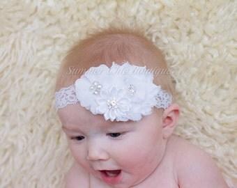 White Baptism Headband, Baby Headband, Infant Headband, Newborn Headband, Christening Headband, White Baby Headband