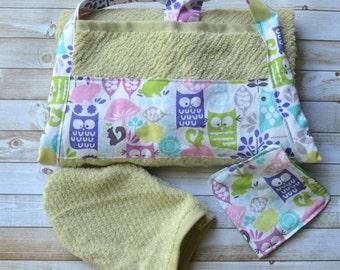 Owl baby bath towel apron