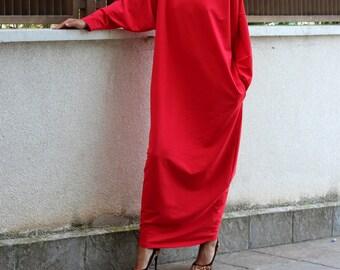 Red dress/ Long Dress/ Maxi Dress/ Long sleeve dress/ Maxi dress with sleeves/ Plus size dress
