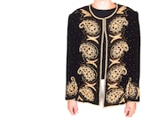 ON HOLD for Kaid vintage 80s velvet and beaded jacket