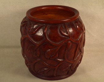 "Weed Pot Vase Hand Carved Crafted Vine Design 7-1/2"" h."