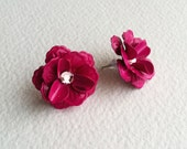 pink earring, fuchsia earring, flower earring, bridesmaid earring, jewelry, fuchsia pink MAGENTA rose pink fuchsia post earring, swarovski