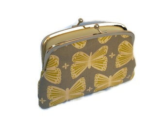 Kokka coin purse, Grey kiss lock wallet with cream butterfly and two compartments with divider