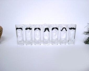 7 Personalized Mustache Shot Glasses - Bachelor Party Shot Glasses - Wedding Party Glasses - Choose Your Mustache Style