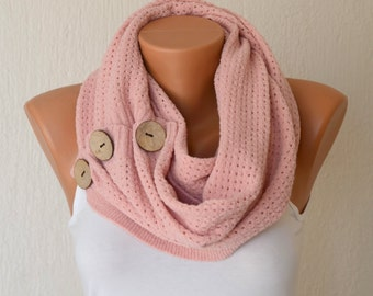 BS5227 Pale pink knit button infinity scarf circle scarf winter scarfs neck warmer cowl birthday gifts women's accessory christmas gifts