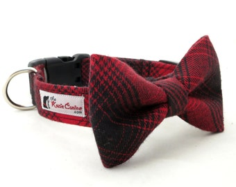 Red and Black Plaid  Dog Collar (Collar Only - Matching Bow Tie Available Separately)