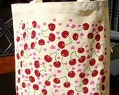 Tote Bag Hand Painted Cherries and Pink Hearts Bag, Tote Bag, Teacher Gifts, Gifts For Her, Beach Bag, Book Bag, Gifts For Mom