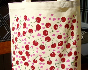 Tote Bag Hand Painted Cherries and Pink Hearts Bag, Tote Bag, Teacher Gifts, Gifts For Her, School Bag, Book Bag, Gifts For Mom