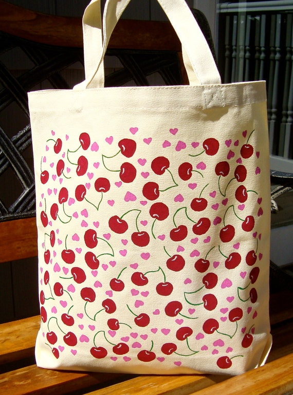 CLEARANCE SALE  Hand Painted Cherries and Pink Hearts Tote Bag, Tote Bag, Teacher Gifts, Gifts For Her, Beach Bag, Book Bag