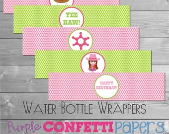 Printable Cowgirl Water Bottle Labels Wrappers Western, Yee Haw!  - Pink and Green INSTANT DOWNLOAD DIY