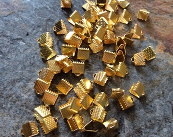 30 18kt Gold plated Ribbon Crimps, Gold Plated Ribbon Crimp,  Ribbon Crimp End Caps- 8mm by 6mm